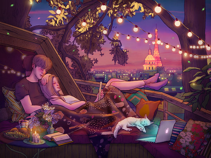 22 Beautiful Illustrations That Prove The Magic Of Love - Simply Relaxing Together After Watching A Good Show