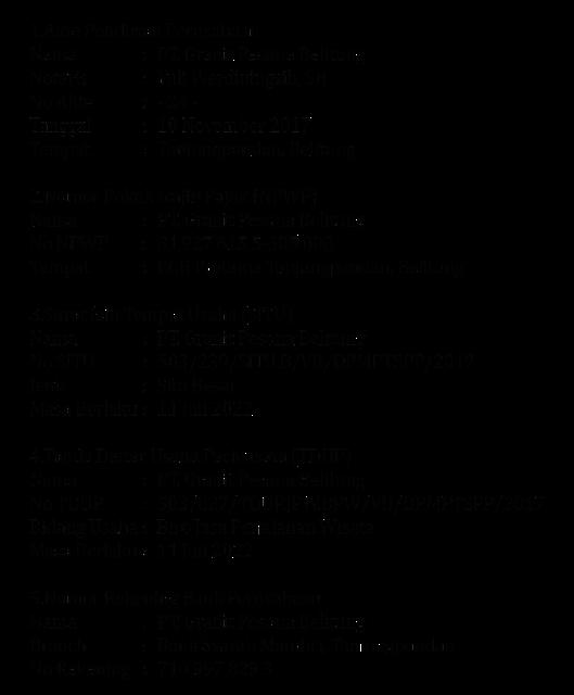 Legalitas Profile Granit Pesona Belitung