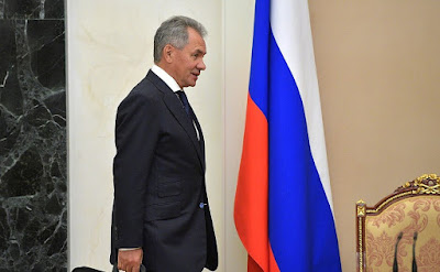 Before a meeting with permanent members of the Security Council. Defence Minister Sergei Shoigu.