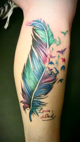 Psychedelic Feather tattoo