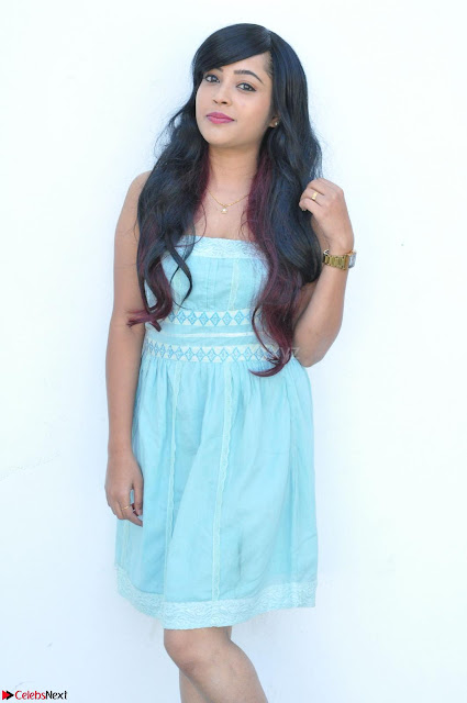 Sahana New cute Telugu Actress in Sky Blue Small Sleeveless Dress ~  Exclusive Galleries 001.jpg