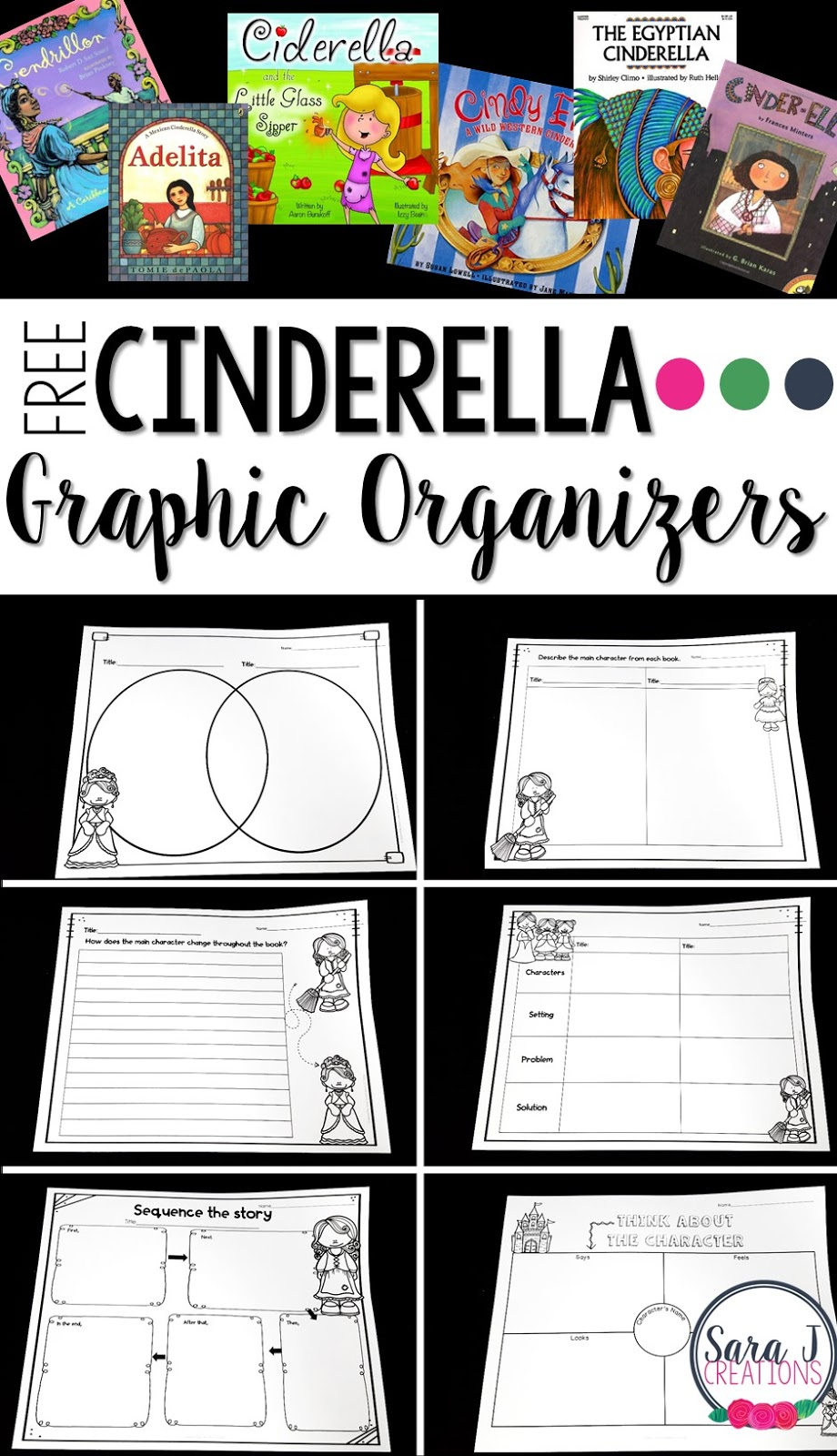 Free Comparing Cinderella Graphic Organizers - Sara J Creations