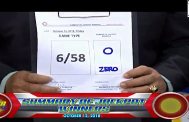 Summary of jackpot winner/s PCSO Ultra Lotto Results October 12, 2018.