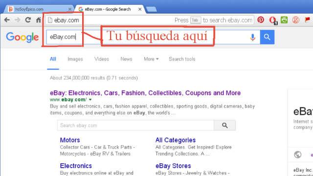 Buscar eBay.com en Google