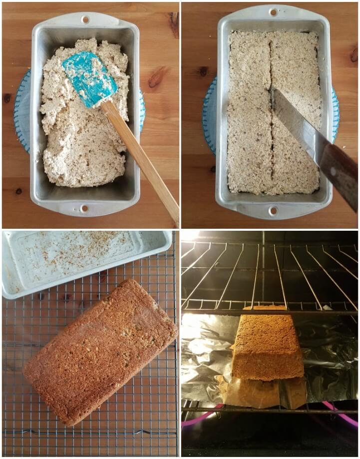 Proceso de horneado del pan de avena rápido sin harina y sin levadura
