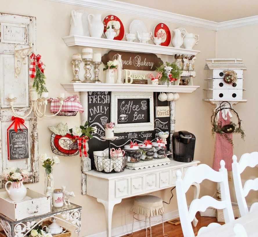 Christmas Coffee Bar-Junk Chic Cottage-How I Found My Style Sundays Christmas Edition- From My Front Porch To Yours