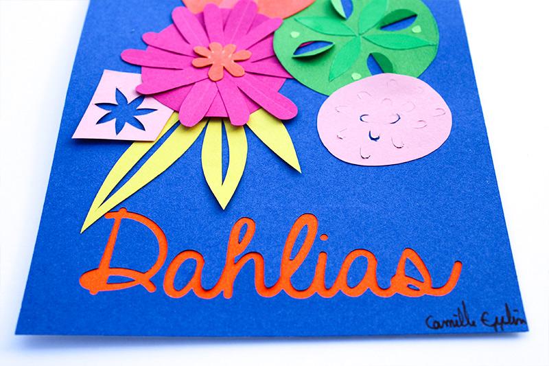 carte postale Dahlia paper flowers