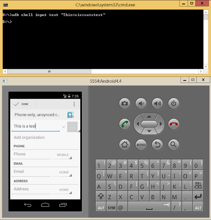 Sending keyboard input via ADB to your android device