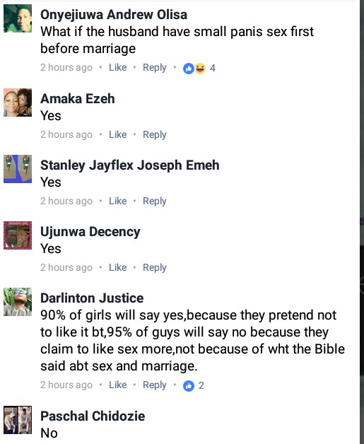 Can you marry someone you have never had sex with? Nigerians reacts