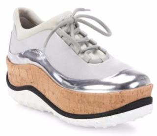 Miu Miu Metallic Trim Cork Platform Sneaker