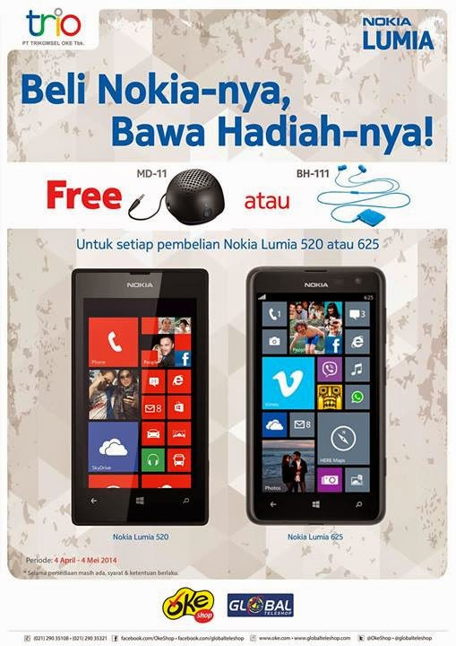 Nokia Lumia 520 dan 625 promo Speaker dan Bluetooth Headset