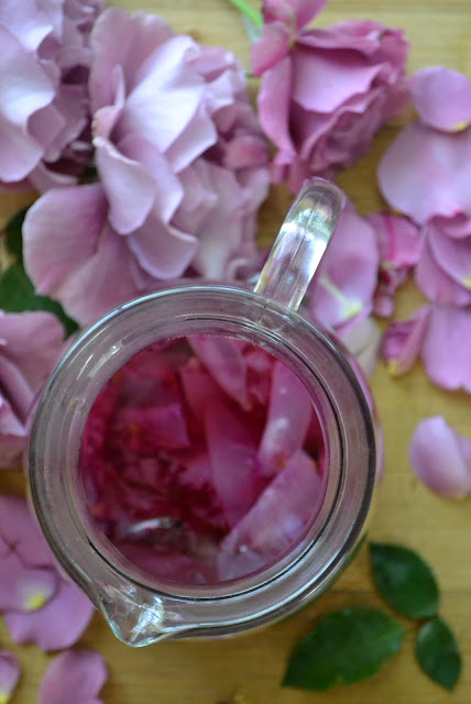 rose simple syrup with rose petals
