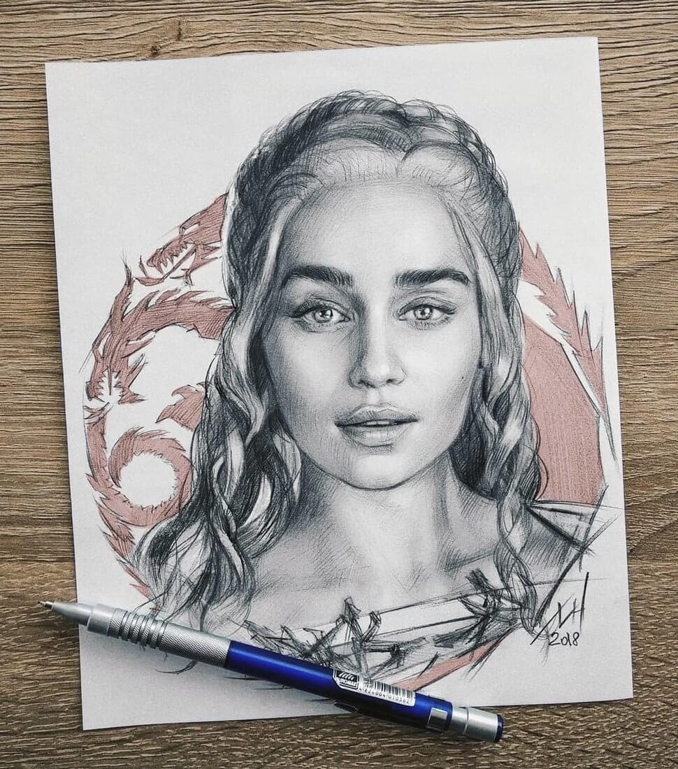 01-Daenerys-Stormborn-Emilia-Clarke-GoT-Michael-Naumets-Portraits-Drawings-of-Celebrities-and-Non-www-designstack-co
