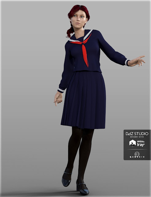 H-C Japanese School Uniforms B for Genesis 3 Female
