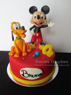 Bolo com o Mickey e o Pluto para o 4º aniversário do Bruno