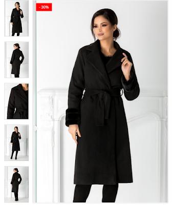 Palton negru elegant din lana  Maneci cu blanita la baza cu cordon in talie