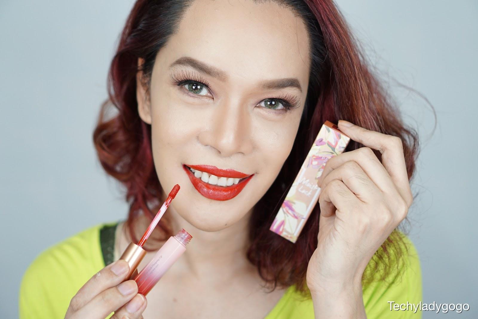 ปากแดง รีวิว ลิปสติก คิวท์เพรส แต่งหน้าด้วยเครื่องสำอาง คิวท์เพรส cute press twilight Garden eyeshadow palette and lip plumping
