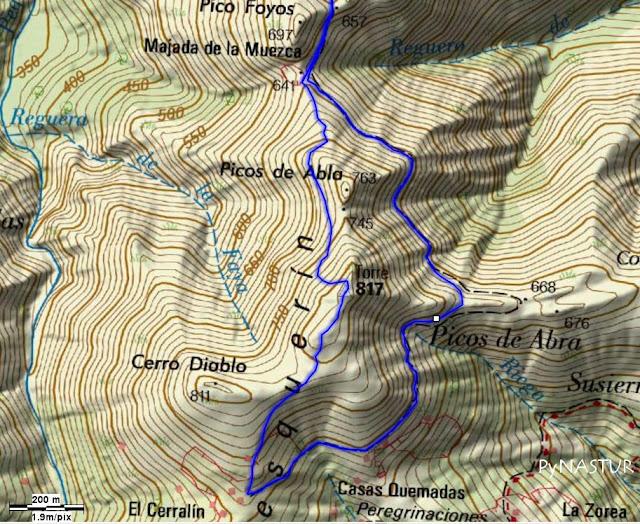 Mapa topográfico 2 Pesquerín - Pico Torre - Piloña