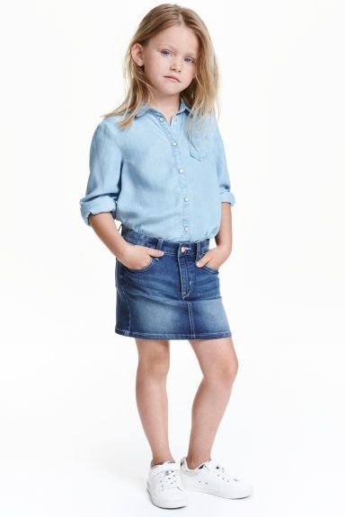 Denim Shirt and Skirt Image 11