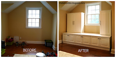 diy playroom built ins before and after