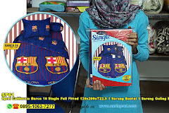 Sprei California Barca 16 Single Full Fitted 120x200xT22,5 1 Sarung Bantal 1 Sarung Guling Biru Sepak Bola Anak Remaja Katun
