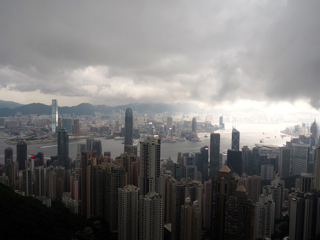 Hong Kong skyline; view of Hong Kong island, Victoria Harbour and Kowloon, taken from The Peak