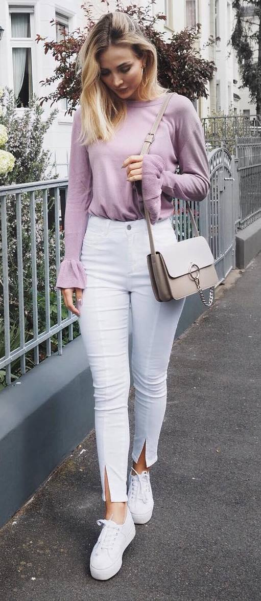 perfect casual style outfit: top + pants + bag