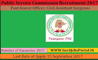 Telangana Public Service Commission Recruitment 2017– 2057 Forest Officer, Civil Assistant Surgeons