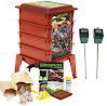 Worm Factory 360 Composting Bin + Moisture and pH Testing Meter Worm Farm Kit (Terracotta)