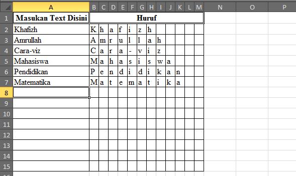 Cara Memisahkan Huruf dari Kata Pada Microsoft Excel