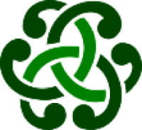 Curved green lines interlaced in a pattern similar to Celtic knotwork.