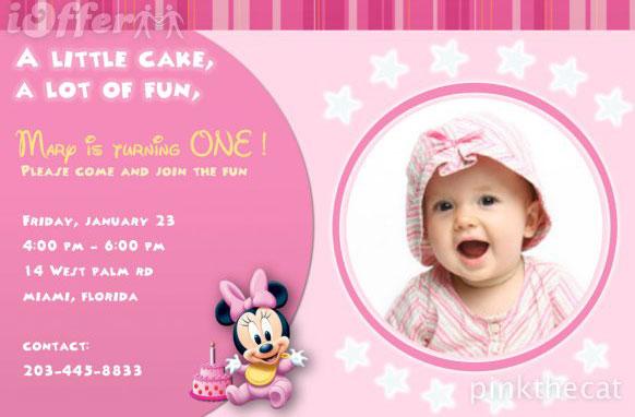1st Birthday Photo Invitations Girl