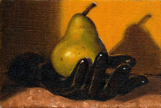 Oil painting of a green pear in a black plastic mannequin hand.