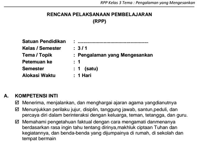 Download RPP SD Kelas III Semester 1 Tema Pengalaman yang Mengesankan Kurikulum 2013 Format PDF