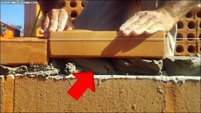 mostrando a argamassa de assentamento de tijolos