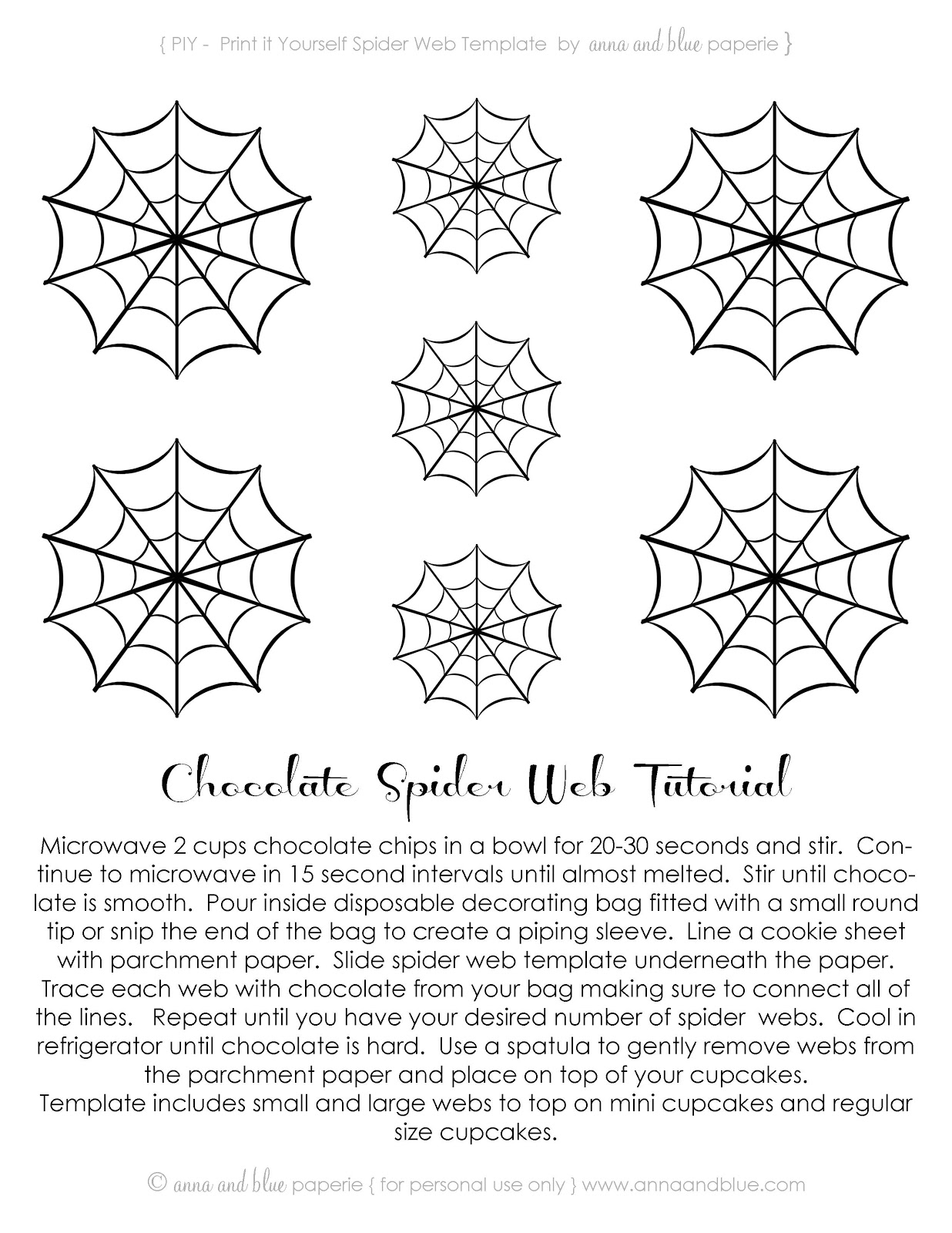 Anna And Blue Paperie Free Printable Spooktacular Spider Webs
