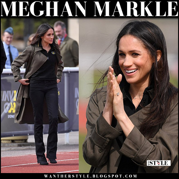 Meghan Markle in khaki trench coat babaton lawson and black bootcut jeans mother denim royal family style april 6