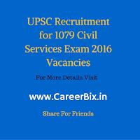 UPSC Recruitment for 1079 Civil Services Exam 2016 Vacancies
