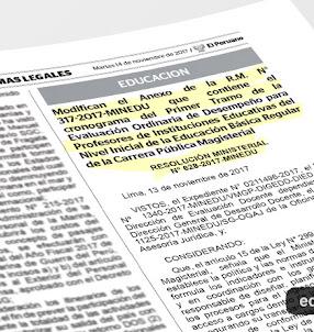 MINEDU modifica Cronograma de Evaluación del Desempeño Docente [R. M. N° 628-2017-MINEDU] www.minedu.gob.pe