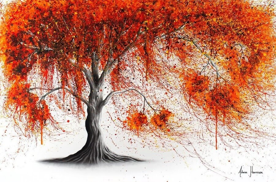 12-Red-Orange-Tree-Ashvin-Harrison-Acrylic-Paintings-www-designstack-co
