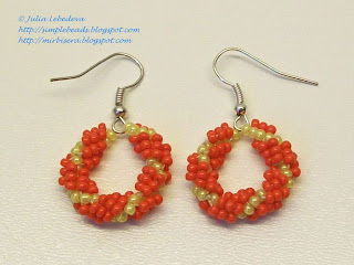 Earrings of beaded spiral rope