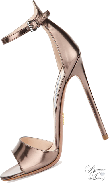 Brilliant Luxury ♦ Prada Metallic Leather High-Heel Sandal