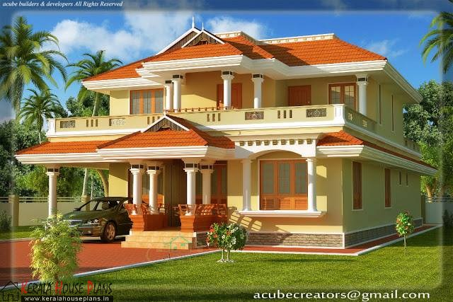 Kerala style double floor house with veranda and pooja room and courtyard