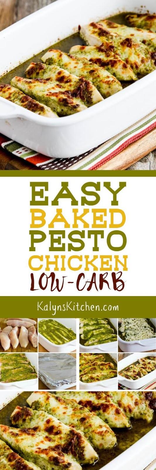 Easy Baked Pesto Chicken found on KalynsKitchen.com