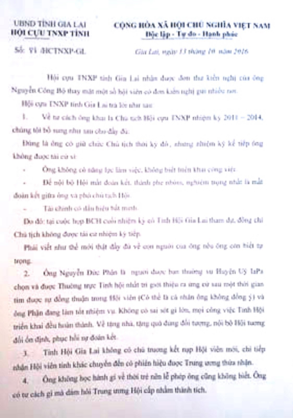 Gia Lai: Hội Cựu TNXP Gia Lai ra văn bản mạt sát hội viên