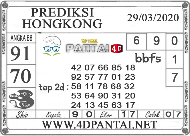 PREDIKSI TOGEL HONGKONG PANTAI4D 29 MARET 2020
