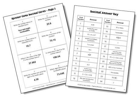 Classroom Freebies: Decimal Review Cards for Math Centers