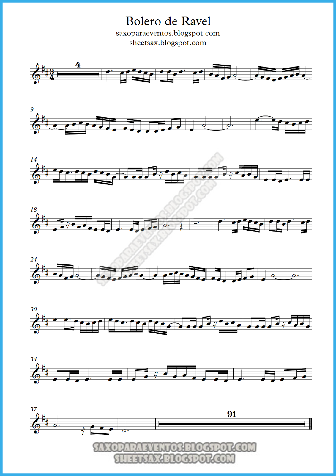 Music Score Of Boléro By Ravel Free Sheet Music For Sax