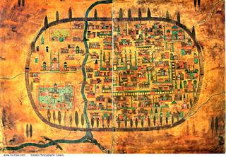 Plano de la ciudad de Tabriz, allá por la Edad Media, siglo arriba, siglo abajo.