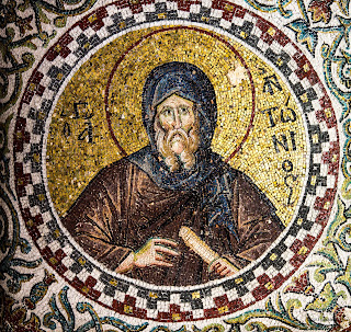 anthony the great, architecture, art, byzantine, church, desert father, editorial, father, heritage, historic, holy, istanbul, medieval, monk, mosaic, pammakaristos, saint, scroll, turkey, https://www.shutterstock.com/image-photo/mosaic-byzantine-monk-anthony-great-scroll-569610727